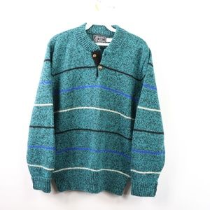 90s Mens Medium Fresh Prince Henley Sweater Teal